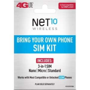 Net10 Bring Your Own Phone GSM 3 in 1 Sim Card Kit 4G LTE ATT Compatible 0