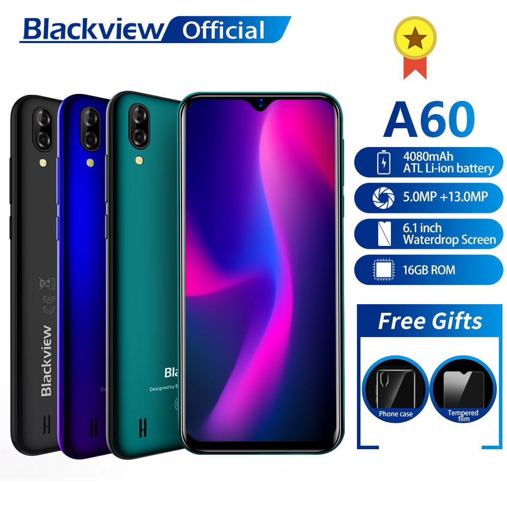 Blackview A60 Smartphone Quad Core Android 8 1 4080mAh Cellphone 1GB+16GB  6 1 inch 19 2:9 Screen Dual Camera 3G Mobile Phone